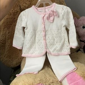 Knitted White and Pink baby outfit